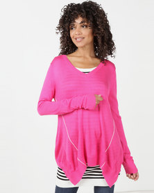 Utopia Knitwear Jumper With Open Back Pink