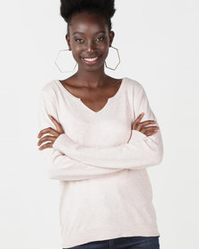 Utopia Knitwear Jumper With Diamante Trim Pink