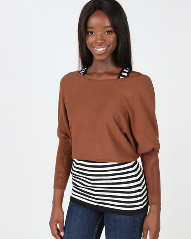 Utopia Light Brown Two Piece Knitwear Set Brown