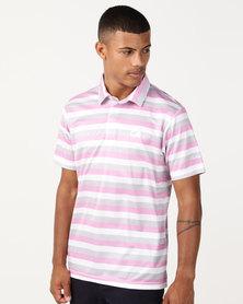Custom Apparel Stripe Golf Shirt - Pink/Grey/White