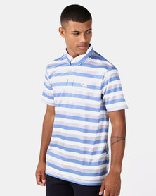 Custom Apparel Stripe Golf Shirt - Blue/Grey/White
