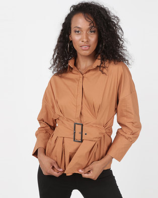 Utopia Belted Shirt With Puff Sleeve Camel