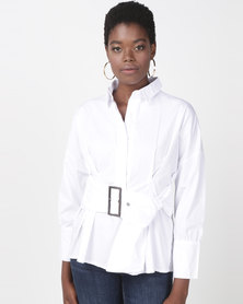 Utopia Belted Shirt With Puff Sleeve White