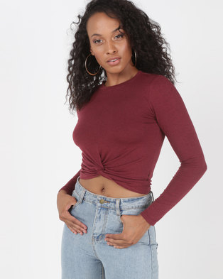 6e2a6ea466d958 Utopia Knot Cropped Top Red