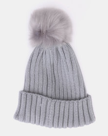 Utopia Toddler Faux Pom Pom Beanie Grey