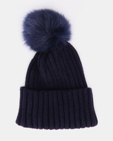 Utopia Toddler Faux Pom Pom Beanie Navy