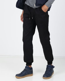 Utopia Cuffed Twill Joggers Black