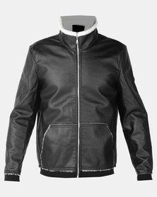 Utopia Sherpa Lined PU Jacket Black