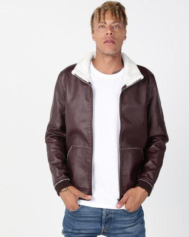 Utopia Sherpa Lined PU Jacket Burgundy