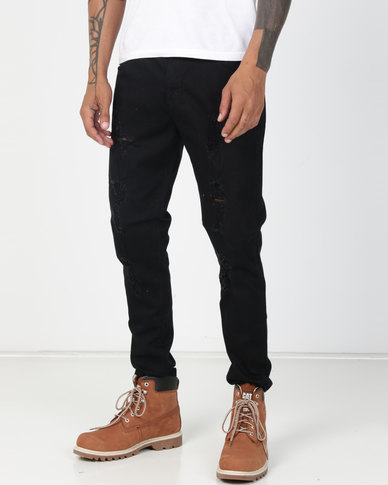 Utopia Ripped Skinny Leg Jeans Black