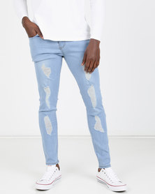 Utopia Ripped Skinny Leg Jeans Mid Blue