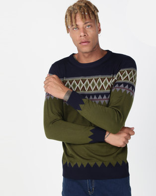 Utopia Colourblock Jumper Olive