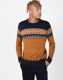 Utopia Colourblock Jumper Camel