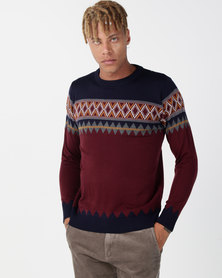 Utopia Colourblock Jumper Burgundy