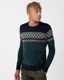 Utopia Colourblock Jumper Teal