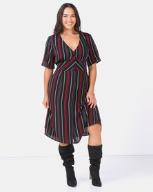Brave Soul Plus Short Sleeve Midi Dress Stripe