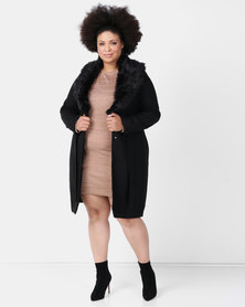 Brave Soul Plus Longer Length Faux Wool Jacket Black