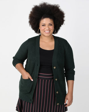 Brave Soul Plus Button Through Cardigan Forest Green