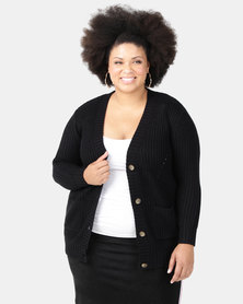Brave Soul Plus Button Through Cardigan Black