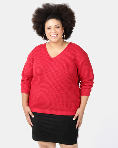Brave Soul Plus V Neck Fisherman Rib Jumper With Open Cross Back Berry Red