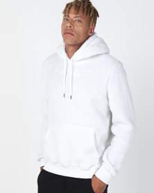 Night Addict Borg Pullover Hoodie Off White