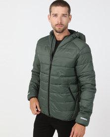 Bellfield Hooded Puffer Jacket Green