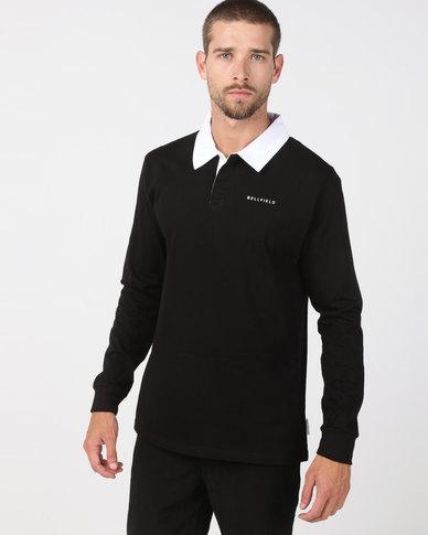 a328d0bdcbbd84 Bellfield Long Sleeve Rugby Shirt Black | Zando