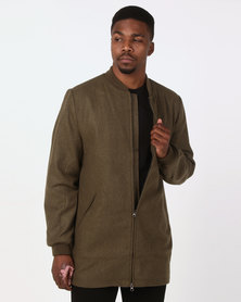 D-Struct Longline Wool Blend Bomber Jacket Khaki