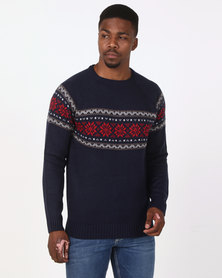D-Struct Crew Neck Jacquard Jumper Navy