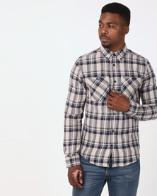 D-Struct Long Sleeve Flannel Check Shirt Stone/Navy