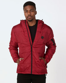 D-Struct Oversized Hooded Puffer Jacket Burgundy