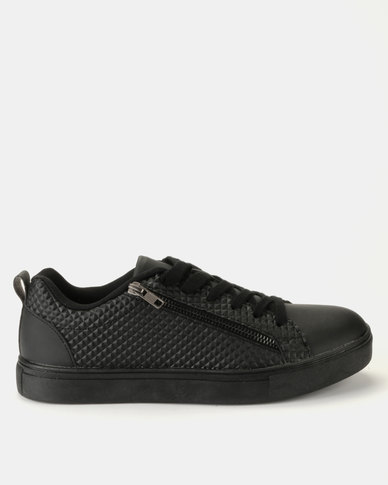 Brave Soul PU Trainers With Side Effect Black