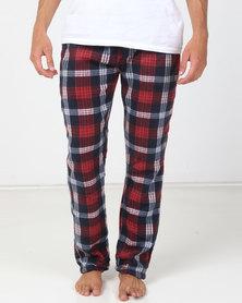 Brave Soul Polar Fleece Pants Navy/Red/White