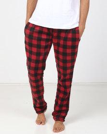 Brave Soul Polar Fleece Pants Black/Red
