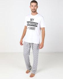 Brave Soul Hangover T-Shirt And Pants Set White/Grey