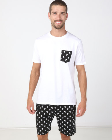 Brave Soul Skulls T-Shirt And Short Set White