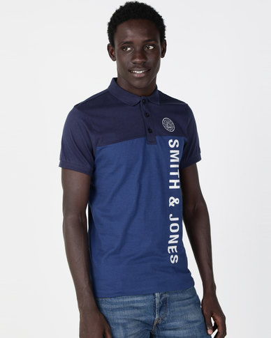 Smith & Jones Rendall Graphic 2 Colour Polo Navy/Blue