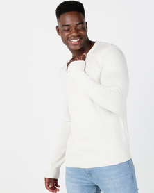 Smith & Jones Garsen V Neck Jumper Cream
