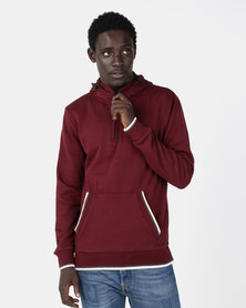 Smith & Jones Dosman 1/4 Zip Hoodie Burgundy