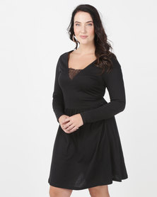 Brave Soul Plus Long Sleeve Dress With Lace Band Black