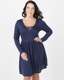 Brave Soul Plus Long Sleeve Dress With Lace Band Midnight Blue