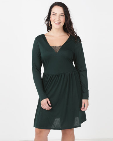 Brave Soul Plus Long Sleeve Dress With Lace Band Forest Green
