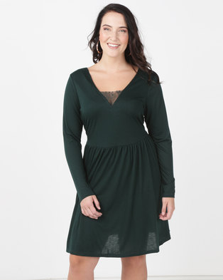 Brave Soul Plus Long Sleeve Dress With Lace Band Forest Green. Quick View 021343d3c1f