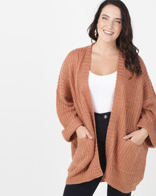 Brave Soul Plus Oversized Cardigan Baked Terracota