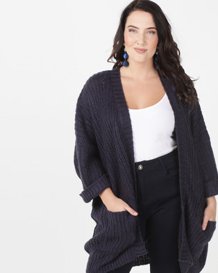 Brave Soul Plus Oversized Cardigan Navy 3d4592c83