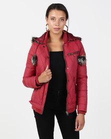 Bellfield Pom Pom Jacket Dark Raspberry