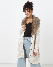 Bellfield Cardigan With Faux Fur Cream