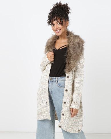 Bellfield Cardigan With Faux Fur Cream