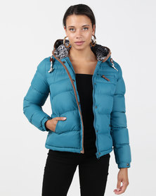 Bellfield Puffer Jacket With Cord Trim Teal