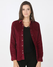 Bellfield Acid Wash Cord Shirt Burgundy